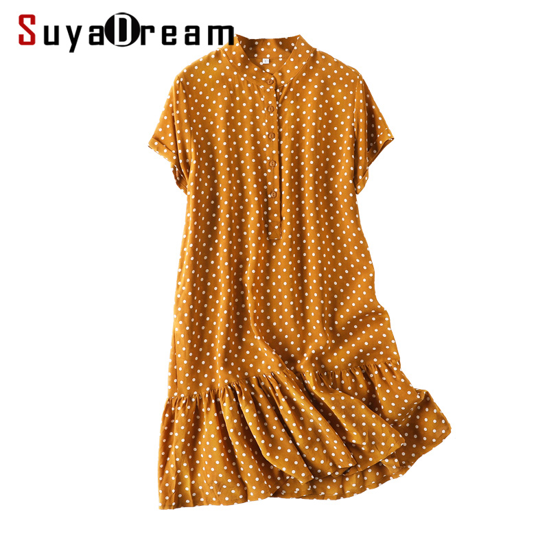 Women Mini Dress 100 Real Silk Dots Printed Dresses for Women Short Sleeved Silk Dress 2019