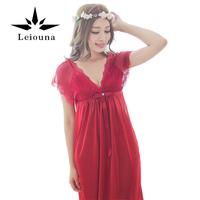 Leiouna 2017 Fashion Night Dress Silk Sleep Shirt Women Sleepshirts Sleepwear Free Shipping Sexy Summer Lingerie