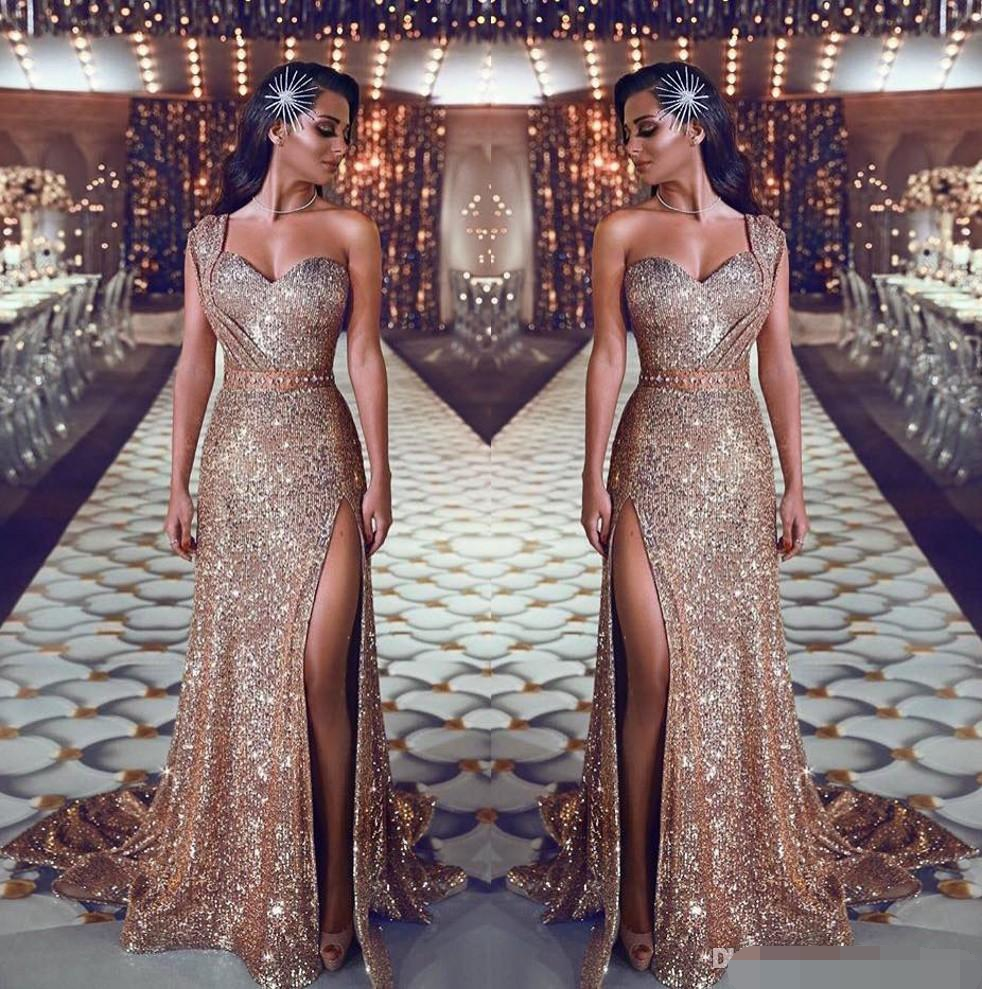 2019 One Shoulder Sequin Mermaid Evening Dress Ruched Split Beaded Waistband Party Gowns Sweep Train Plus Size Prom Dresses