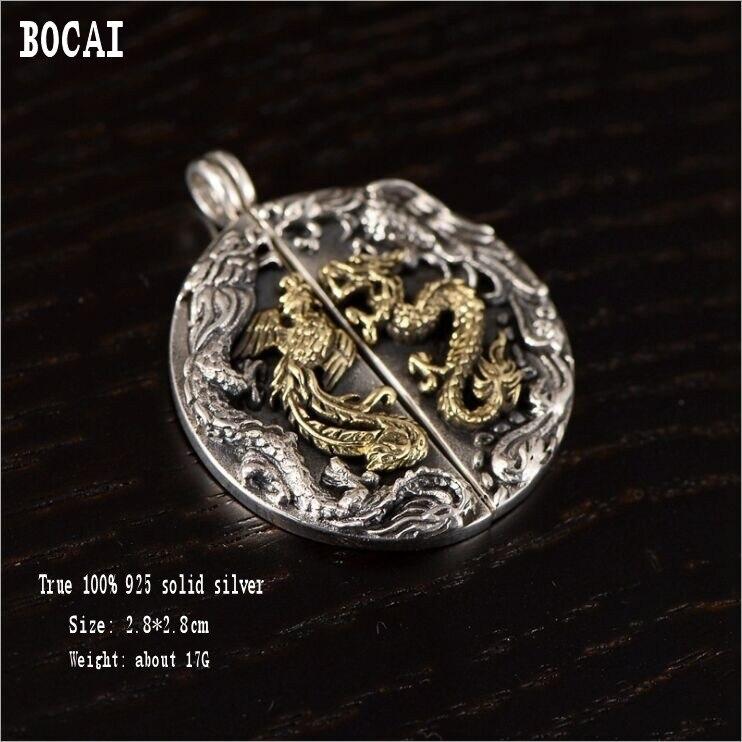 100% s925 sterling massif bijoux en argent dragon et phoenix couples pendentif hommes et femmes étiquette créative cadeau de mariage