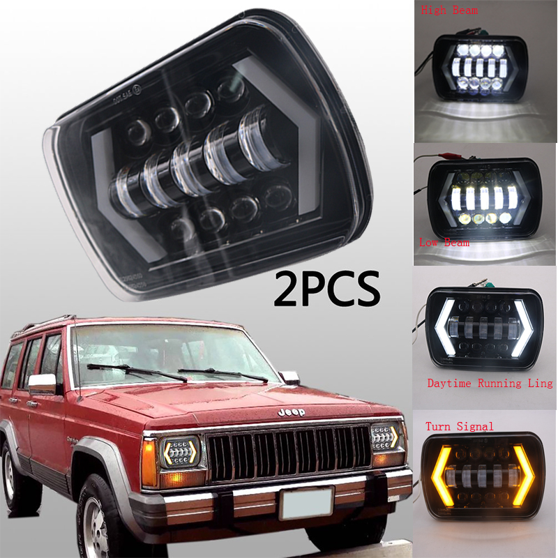 Newest 55w Auto LED Headlight square 5x7 Inch Projector White DRL Yellow Turn Signal For J eep Wrangler YJ C herokee XJ