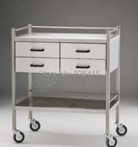 Lab medical stainless steel trolley with drawers,mobile
