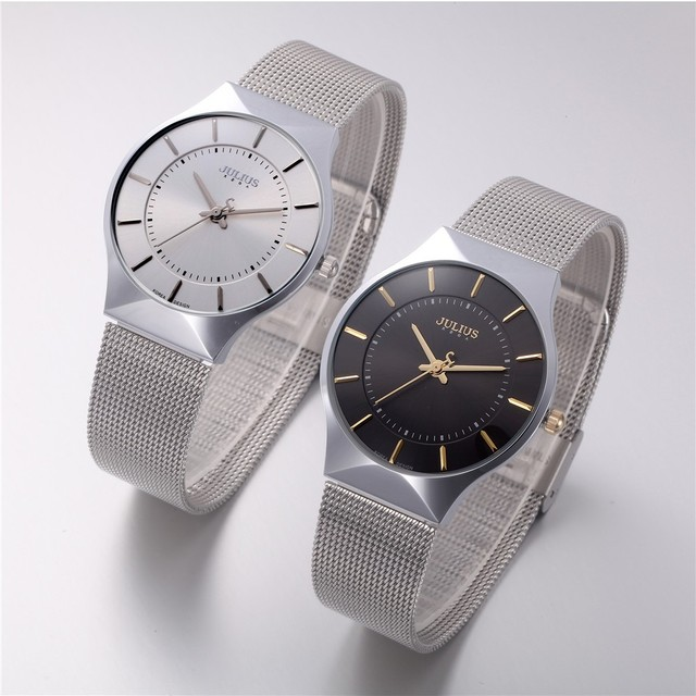 Reloj con pulcera de acero inoxidable, analógico con correa ultra fina