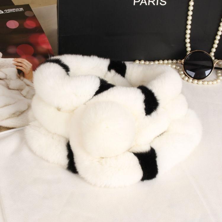 Rex králičí kožešinová šála s míčem 2016 zimní dámská velkoobchodní kravata