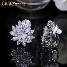 Женские серьги в форме цветка с фианитом без пирсинга