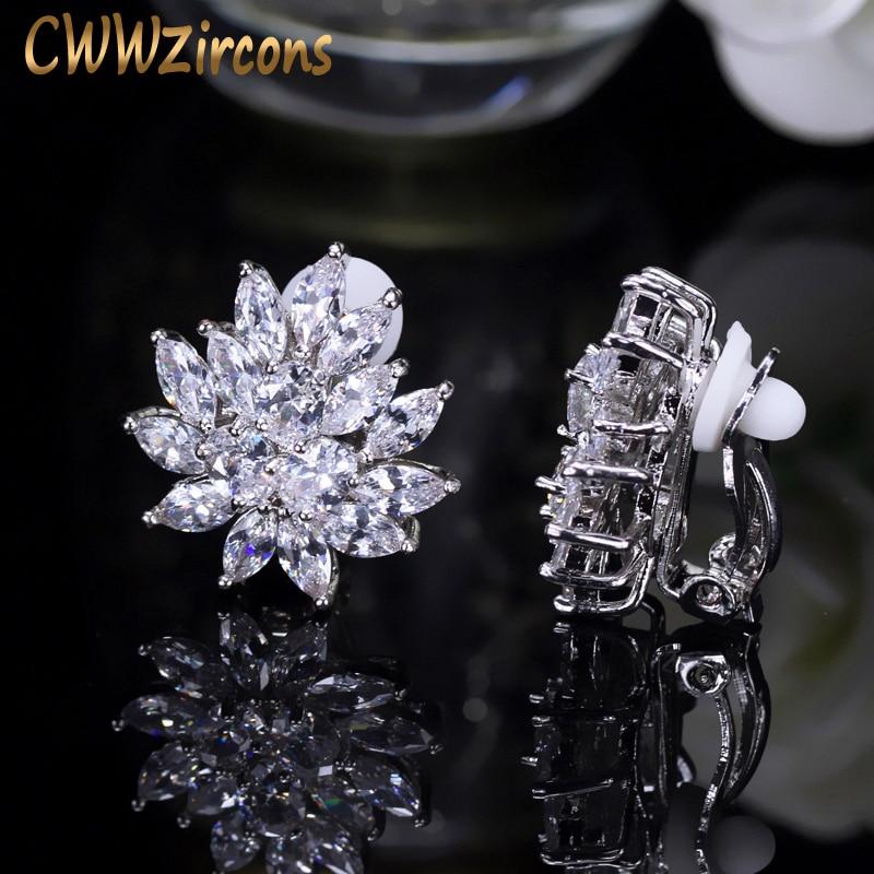 CWWZircons New Designer Flower Shape Stunning Cubic Zirconia Crystal Women Ear Clip on Earrings Without Piercing CZ196 enfashion surround ear clips ear cuff cartilage clip on earrings without piercing earcuff jewelry for women bijoux femme 181052
