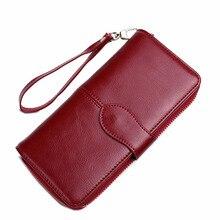 Mode Frauen Brieftasche Handytasche Weiblicher Geldbeutel 100% Rindsleder Brieftasche Weibliche Kartenhalter Dame Clutch Carteira Feminina QB28