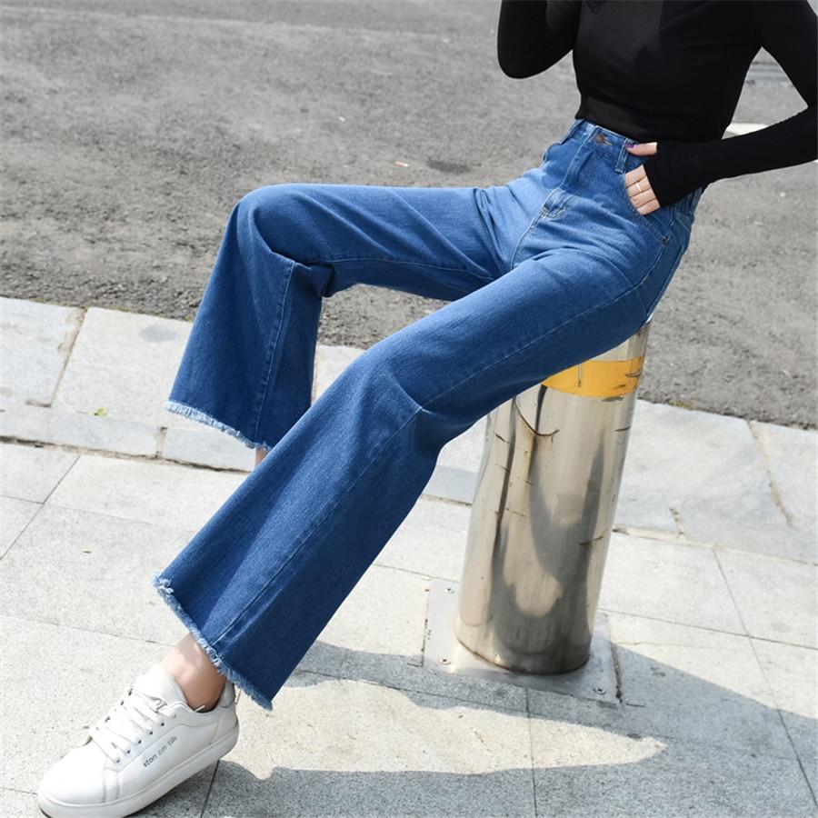 Boot Cut Jeans For Women High Waist Elastic Tassel Denim Pants Wide Leg Straight Long Femme Trousers Female Boyfriend Jeans