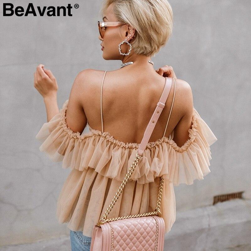 BeAvant Off shoulder womens tops and blouses summer 2019 Backless sexy peplum top female Vintage ruffle mesh blouse shirt blusas