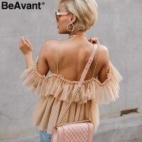 Beavant Off Shoulder Womens Tops And Blouses Summer Backless Sexy Peplum Top Female Vintage Ruffle Mesh Blouse Shirt Blusas