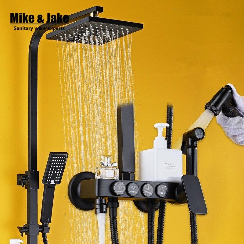 Salle de bains De Luxe pur noir set de douche avec bidet douche avec plateau bidet douche ensemble salle de bains robinet De Douche Baignoire Robinet Ensembles