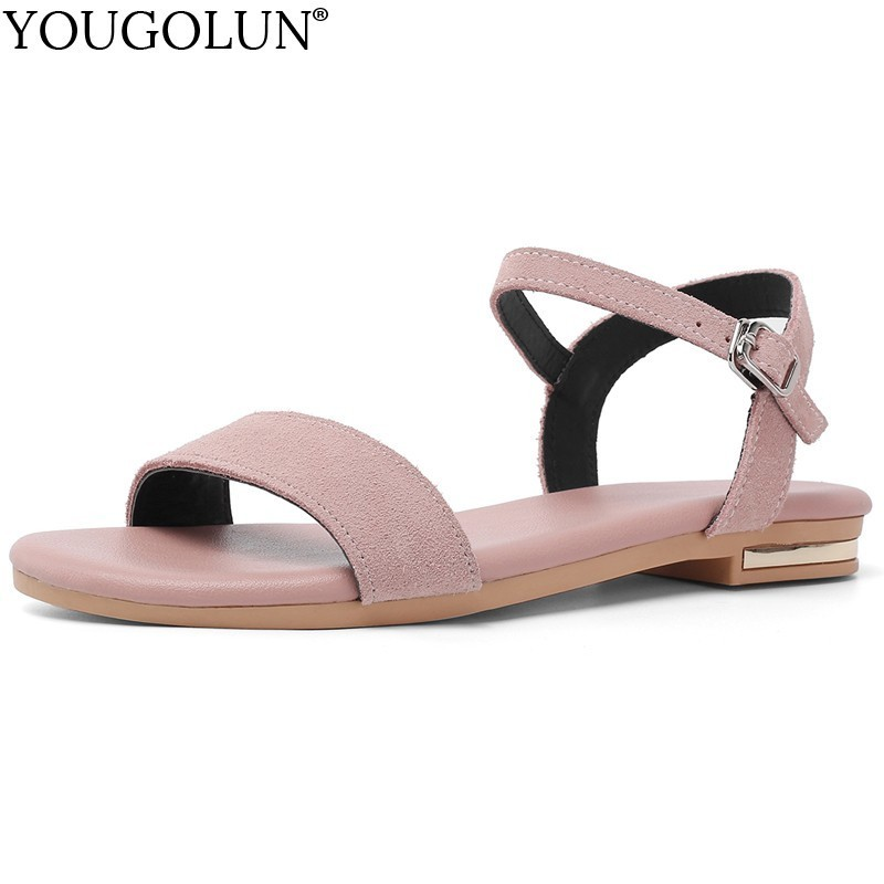 Women Flat Sandals Genuine Cow Suede Summer New Ladies New Flat Sandal Casual Woman Apricot Pink Black Comfortable Shoes A165Women Flat Sandals Genuine Cow Suede Summer New Ladies New Flat Sandal Casual Woman Apricot Pink Black Comfortable Shoes A165