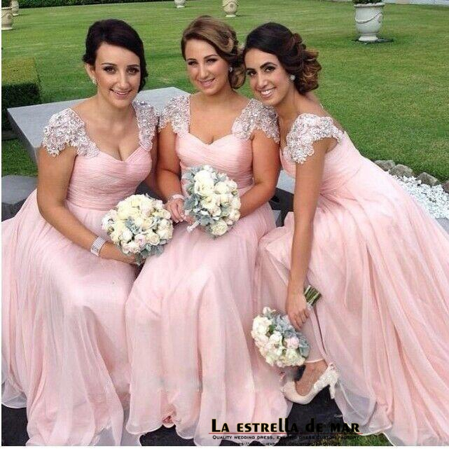 Robe demoiselle d'honneur2019 new lace hat sleeves A line pink   bridesmaid     dresses   long plus size vestido madrinha