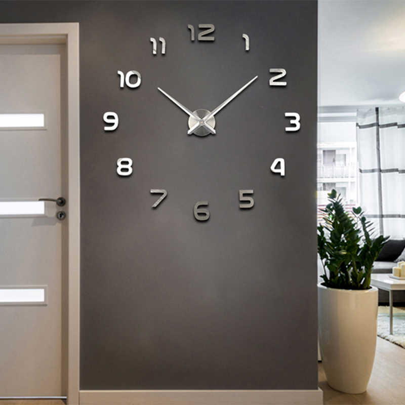3D DIY Wall Clock Modern Style 2019 New Saat Reloj De Pared Metal Art Clock Living Room Acrylic Mirror Watch Horloge Murale