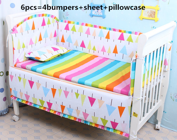 Discount! 6/7pcs Baby Bedding Set Baby Bed Bumper Cot Sheets Kit Crib Bedding Cotton 120*60/120*70cm