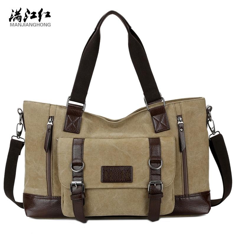 ФОТО New Arrival Fashion Big Capacity Man's Travel Bag Cotton Canvas Shoulder Bag Portable Commercial Men Handbag 1324