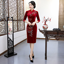 2018 Party Knee Length Cheongsam Traditional Chinese style Short Dress Womens Spring Velour Qipao Slim Dresses Vestido S-4XL
