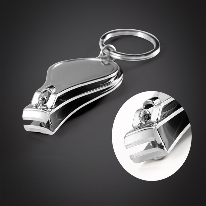 50pcs Carbon Steel Three In One Fingernail Clipper Nail Cutter With Bottle Opener KeyChain Promotional Gift KeyRing Nail Clipper nail clipper with removable 2x magnifier black