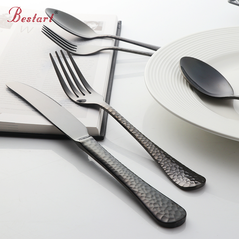 1lot/20 Pcs Golden Plated Cutlery Set 18/10 Stainless steel Black Dinner Fork Dining Knife Tablespoon Dinnerware Set Cutleries