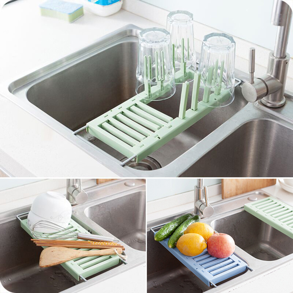 Kitchen New Kitchen Sink Storage Racks Retractable Sink Drain Rack Kitchen Plastic Cup Dish Tray Vegetable Kitchen Organizer#15T