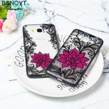For Samsung Galaxy J2 Prime Case TPU Lace Foral Black Rose Cover G532
