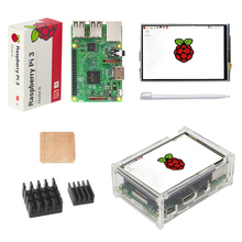 UK Original Raspberry Pi 3 Model B Board + 3.5 inch LCD TFT Touchscreen + Touch Pen + Acrylic Case + Heat sink for RPI3 Pi3