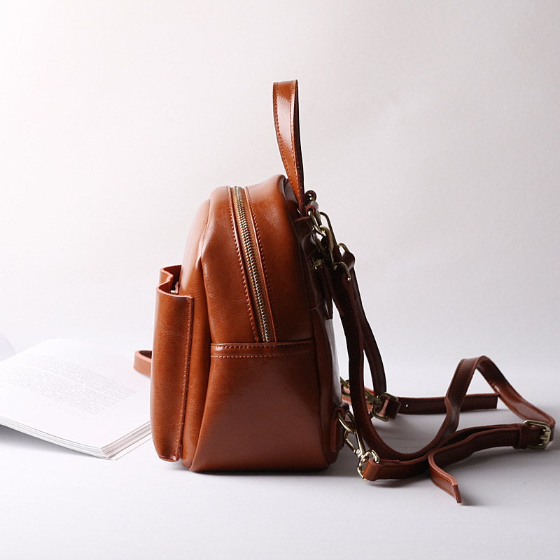92019ea0af 2018 Women Fashion Small Brown Black Pink Backpack Genuine Leather Girls  Schoolbags-in Backpacks from Luggage   Bags on Aliexpress.com