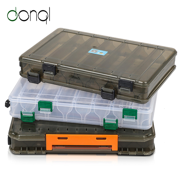 DONQL Fishing Box for Baits Double Sided Plastic Lure Boxes Fly Fishing Tackle Storage Box Supplies Accessories High Strength