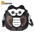 Cute Mini Owl Backpacks For Teenage Girls Female Ladies School Bags Mochila Black PU Leather Women Backpack Shoulder Bag Bagpack