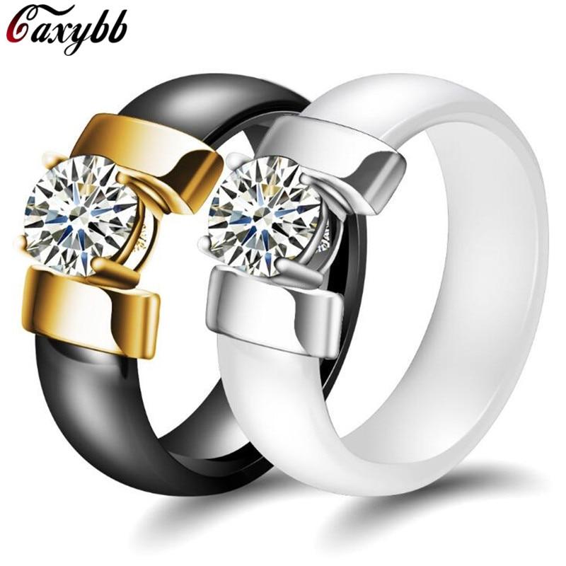 7mm Weiß Schwarz Keramik Ringe Plus Zirkonia Für Frauen Gold Farbe Edelstahl Frauen Hochzeit Ring Engagement Schmuck
