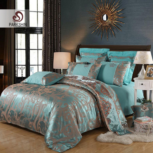 ParkShin Bedding Set Luxury Duvet Cover Set Bed Sheet Pillowcases Bedclothes Bed Linen Euro Cotton Tencel Bedspread Adult Double