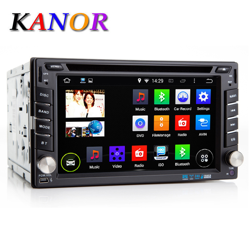 Kanor Double 2 Din Universal Android Quad Core ROM 16G Car DVD Player Capacitive Touchscreen GPS