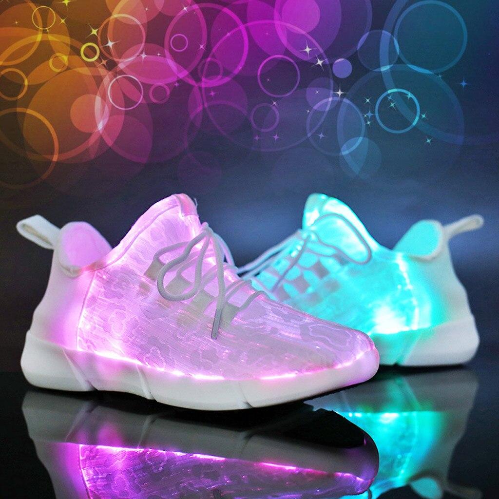 Baskets Couple à Lacets Décoloration Lumière Led Chaussures Décontractées Coloré Flash Chaussure Respirant Usb Led De Charge Chaussure De Course