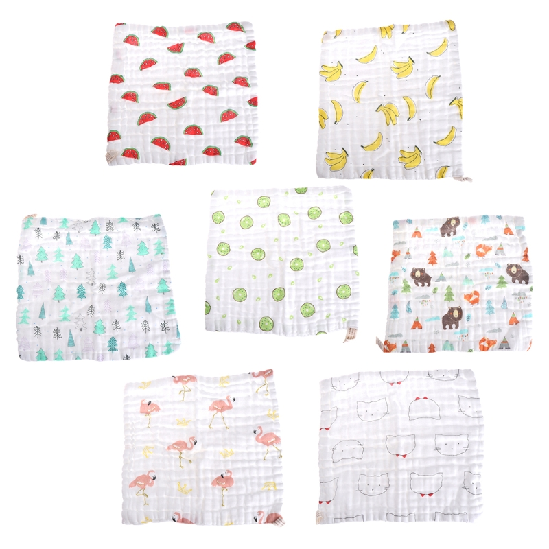 6 Layers Baby Handkerchief Square Towel Muslin Cotton Infant Face Towel Wipe Cloth-M15