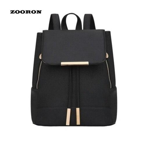 Stylish Zipper Women Backpack Solid Color Sleek Fashion Leather Backpack Girls Back To School Backpack