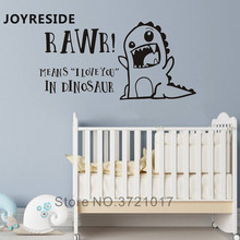 Little Dinosaur Wall Sticker Home Baby Boys Rooms Decor Rawr Means I Love You Decals Warm Lovely Stickers Vinyl Design M035