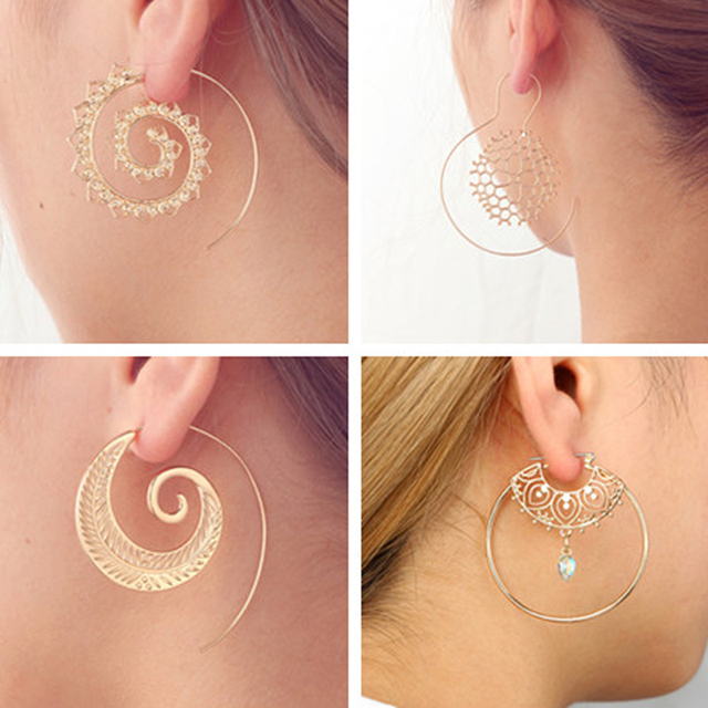 docona Punk Hollow Out Spiral Drop Earrings Women Gold Sliver Color Circle Leave