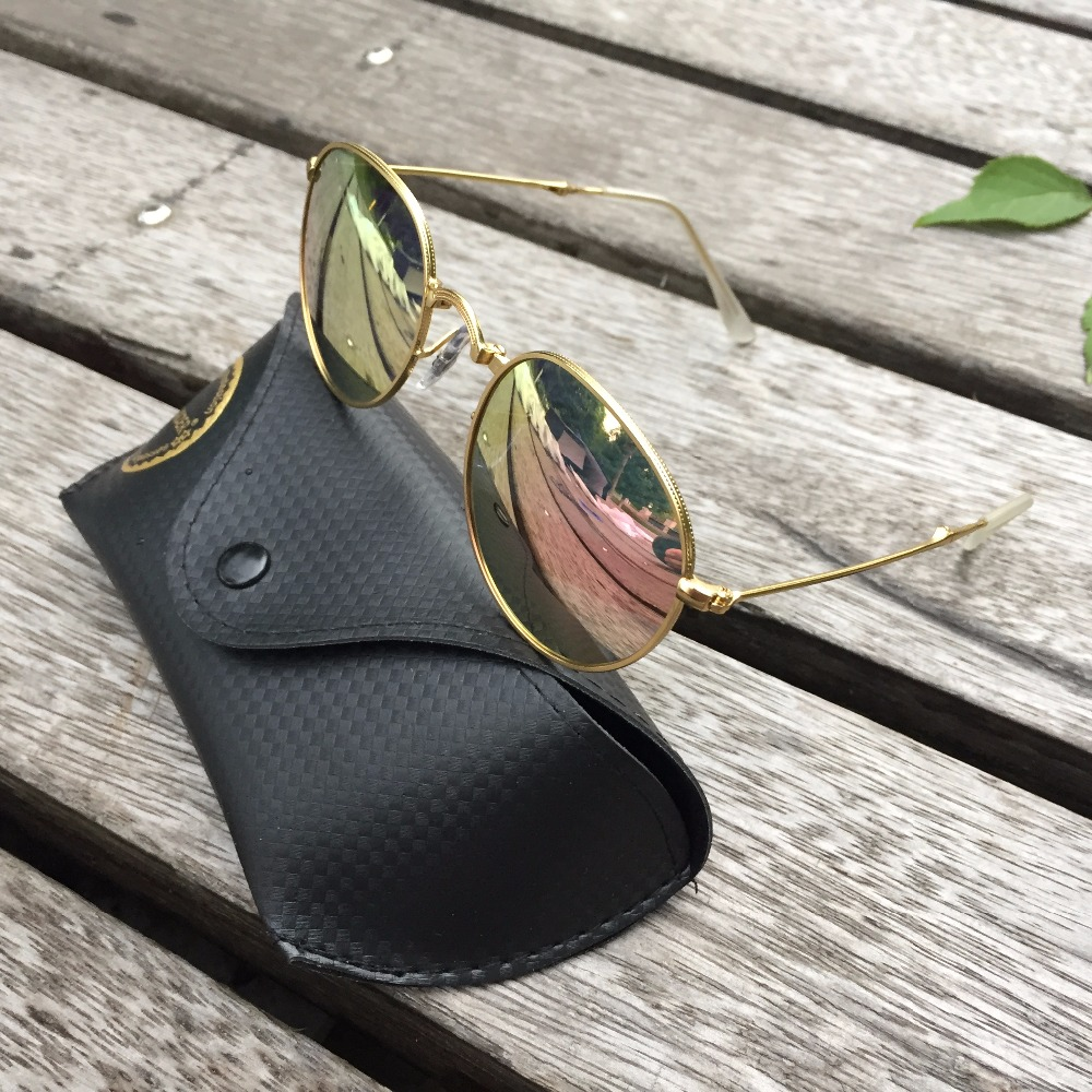 High Quality Round Folding Polarized Sunglasses Fashion Vintage Mirror Metal Frame Men Women Retro Fishing Sun Glasses With Box in Men 39 s Sunglasses from Apparel Accessories