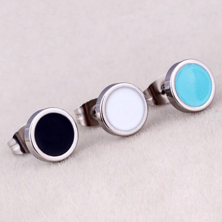 Hot Sale Women Men Round Barbell Ear Studs Titanium Steel Circle White Black Blue Oil -1190