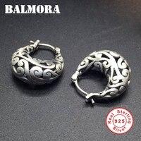 BALMORA 100 Real 925 Sterling Silver Jewelry Vintage Hoop Earrings For Women Gift Hollow Silver Earrings