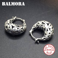 BALMORA 100 Real 925 Sterling Silver Jewelry Vintage Hoop Earrings For Women Gift Hollow Silver Earrings