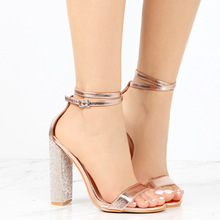 2019 Summer Europe Sexy Women Sandals Fashion High-heel Party Shoes Crystal  Buckle Strap Low-cut Plus Size 34-43 Luxury Sandals недорого