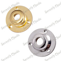 2 Pcs Round Metal Threaded Jack Plates JackPlate Cover Head top Cap tip for Guitar Bass with screw Chrome Gold for choose