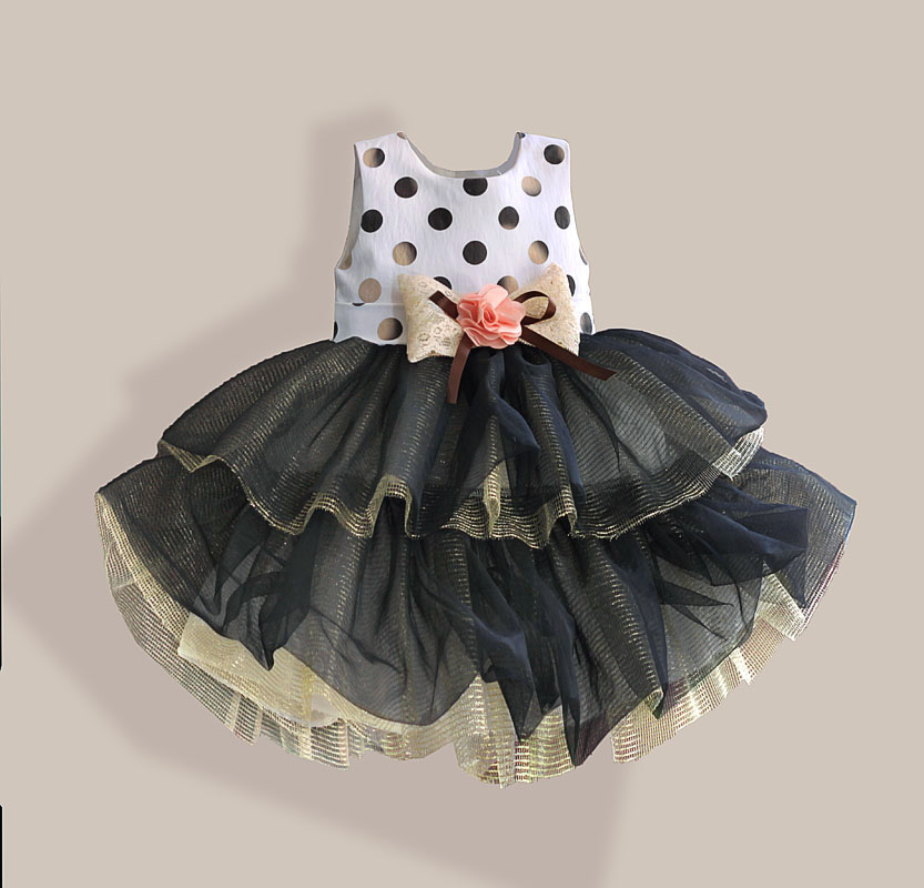 Cotton Dot Print Girl Dress Black Layered Party Princess Children Dress Lace Bow Girls Wedding Dresses robe fille enfant 2-7T