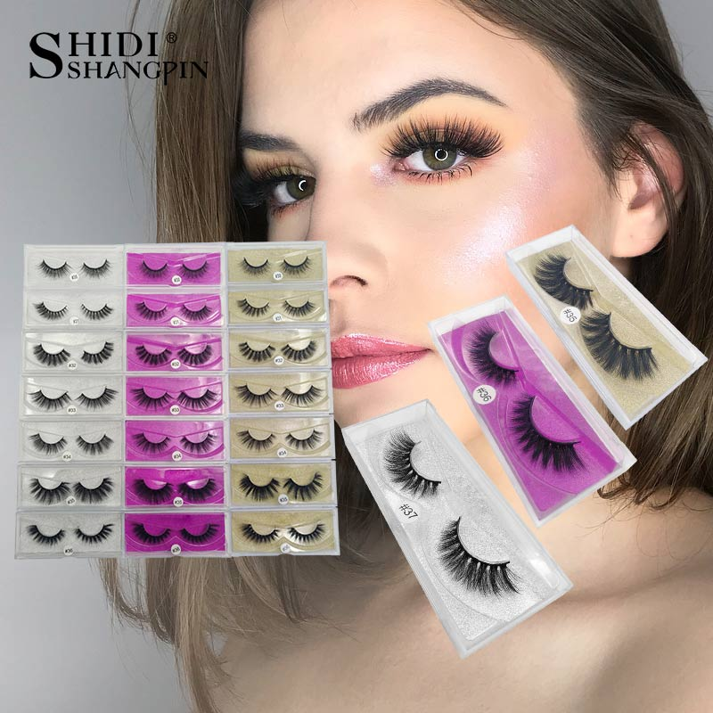 SHIDISHANGPIN 1Box 3D Mink Eyelashes Natural Long Mink False Lashes Hand Made 3D False Eyelashes Fluffy Makeup Full Strip Lashes