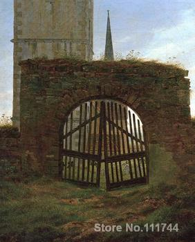 oil painting of landscapes Churchyard Gate by Caspar David Friedrich art High quality Handmade image