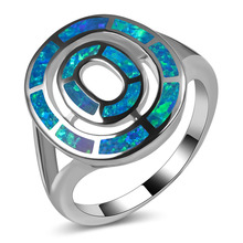Hot Sale Exquisite Blue Fire Opal 925 Sterling Silver High Quantity Engagement Wedding Ring Size 5 6 7 8 9 10 11 A200