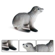 1pcs 3*2.5*6cm Mini Sea Lions Marine animal Plastic  model vivid birthday gift children Favorite  Early education toys
