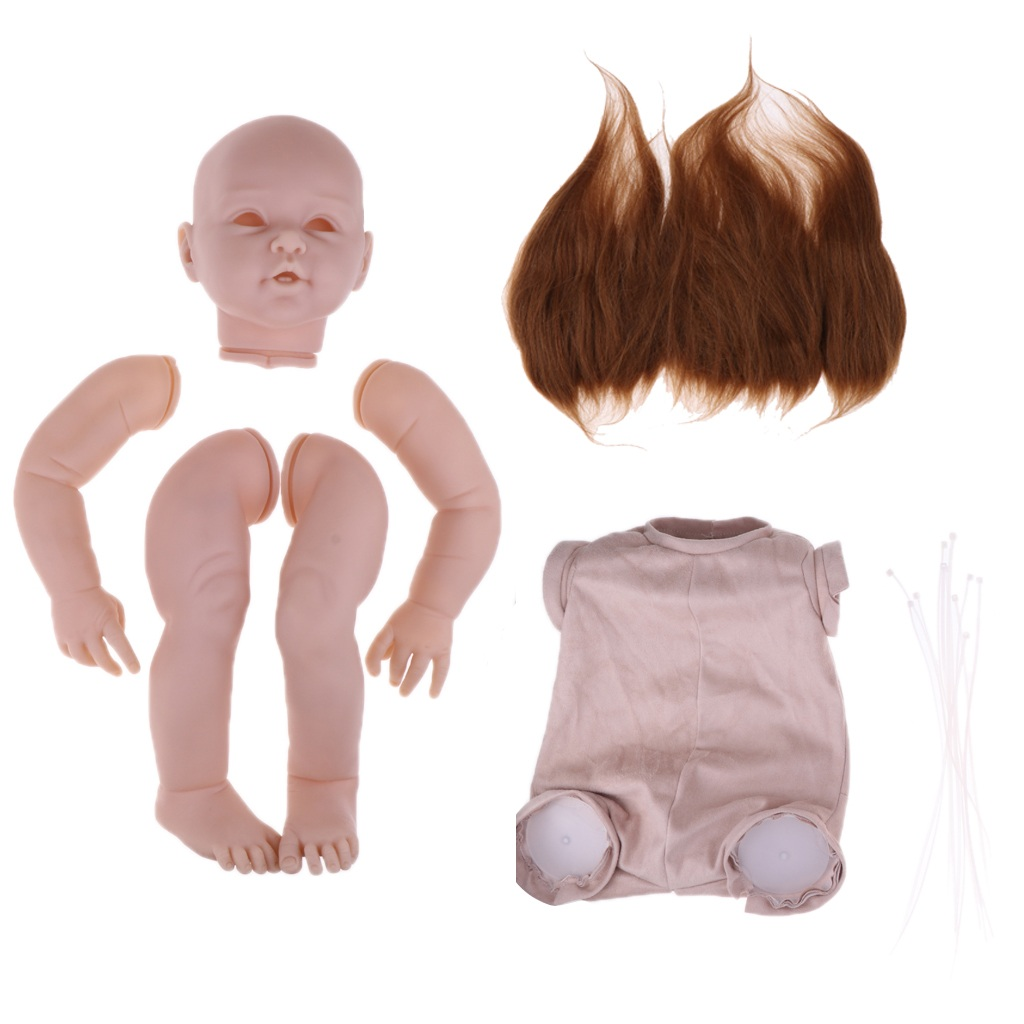 Real Life Soft Silicone 29inch Reborn Baby Kits Head 3/4 Arms Full Legs Mold Cloth Body Brown Mohair Hair
