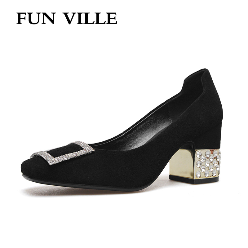 FUN VILLE 2018 spring summer women pumps natural suede causal shoes for women high heels Sexy Ladies shoes Plus size 34-43